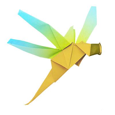 Origami blau-grüne Libelle