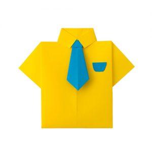 Origami - gelbes Hemd mit blauer Krawatte